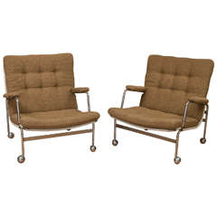 Pair of Bruno Mathsson Karin Lounge Chairs for Dux