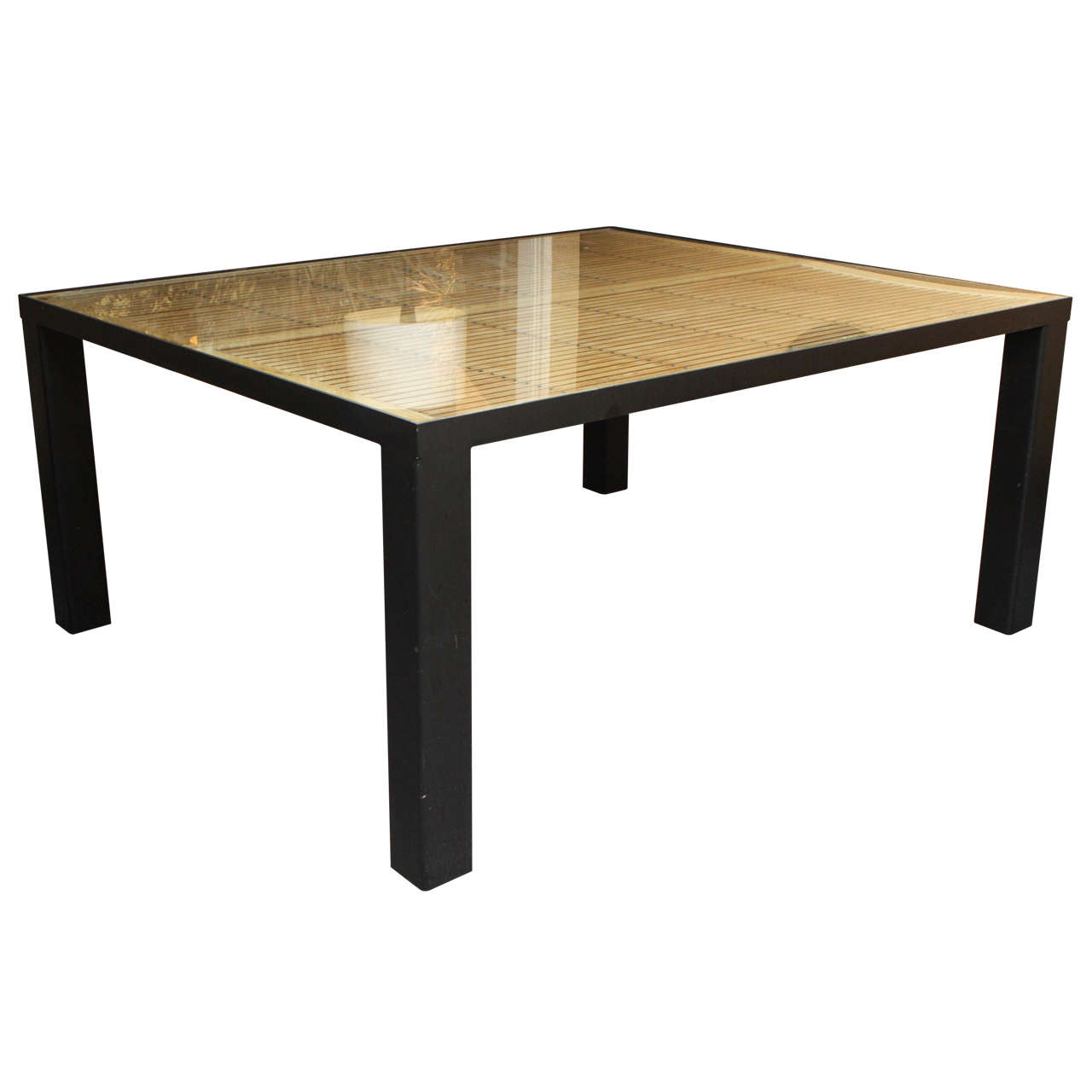 Indoor or outdoor large glass dining table at 1stdibs for Glass top outdoor dining table