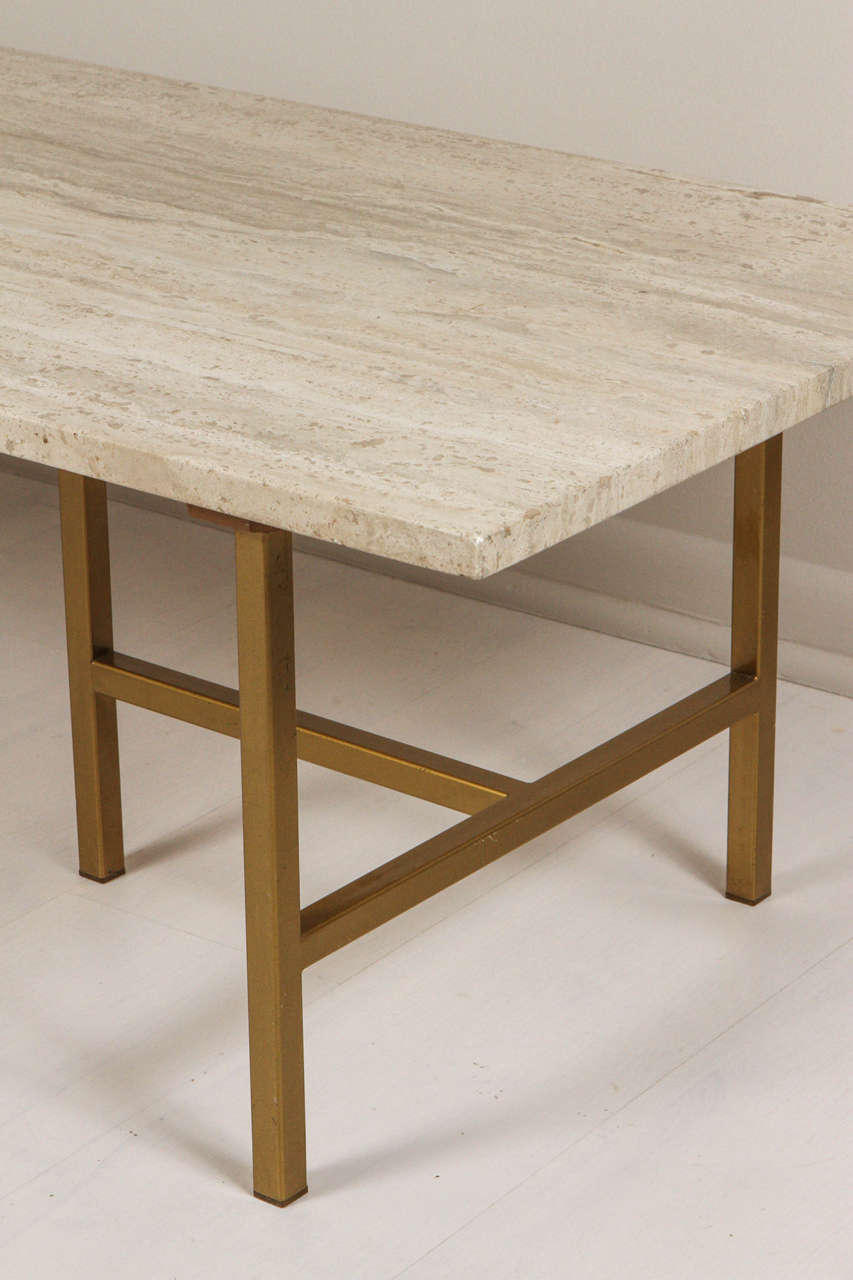 Mid Century Travertine Top Coffee Table With Brass Base At 1stdibs