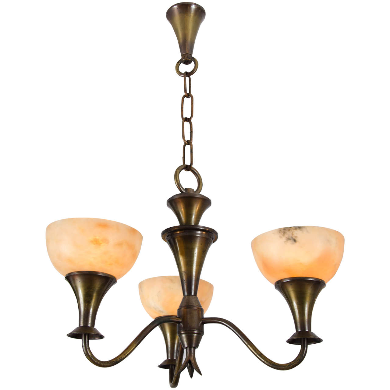 Art Deco Chandelier With Alabaster Shades For Sale At 1stdibs