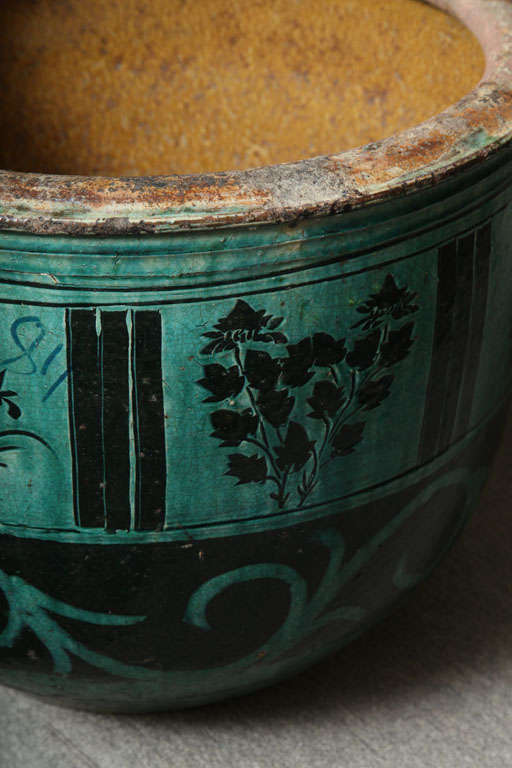 Large Hunan Turquoise Glazed Antique Ceramic Planter At