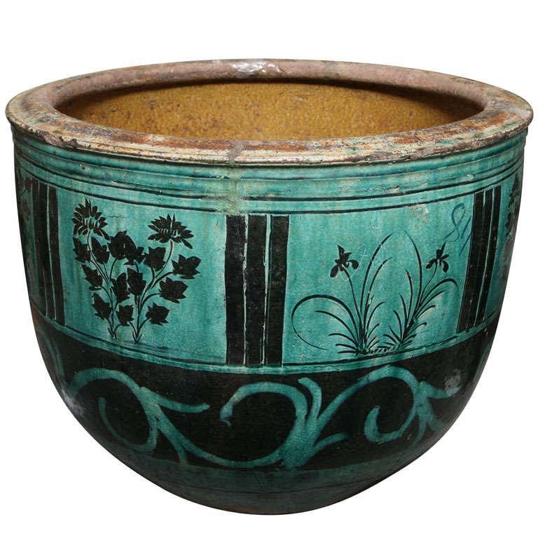 Large Hunan Turquoise Glazed Antique Ceramic Planter At