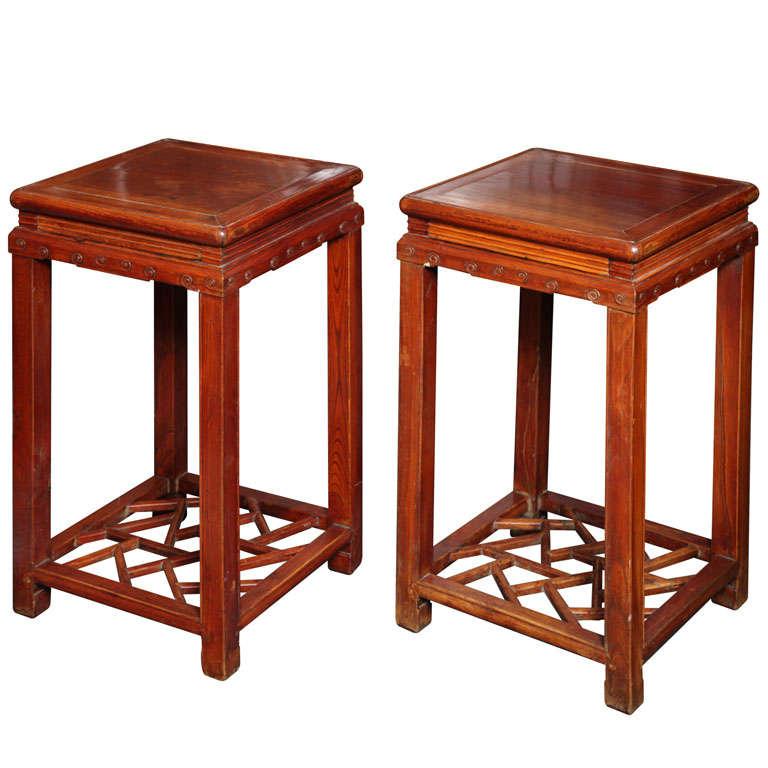 Pair Of Late Qing Dynasty Elmwood Pedestal Tables For Sale