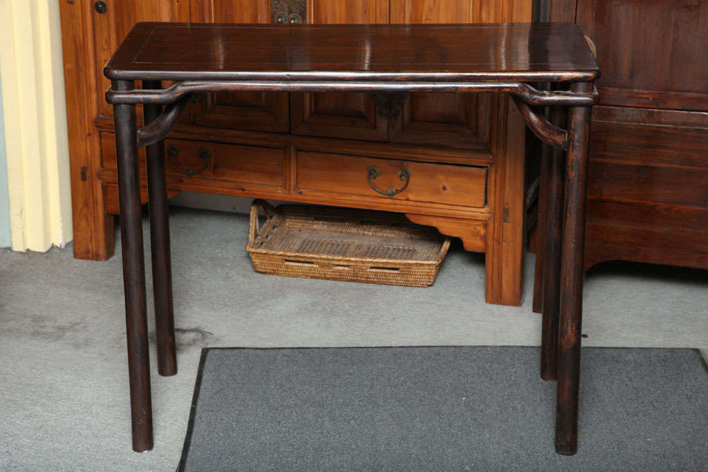 Chinese Ming Style 19th Century Elmwood Small Console Table With Brown Lacquer Finish For