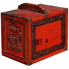 Carved & Lacquered Antique Jewelry Chest