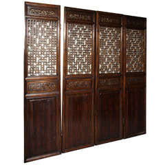 Set of Four 19th Century Elmwood Open Fretwork Panels with Delicate Carving