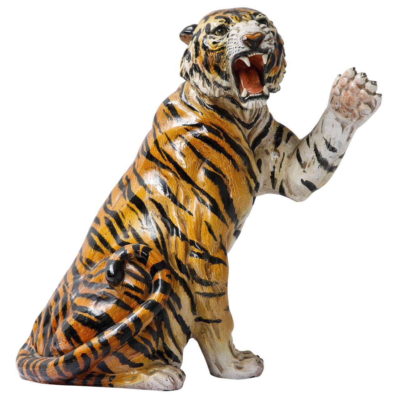 Life Size Ceramic Tiger Statue, 1970s at 1stdibs