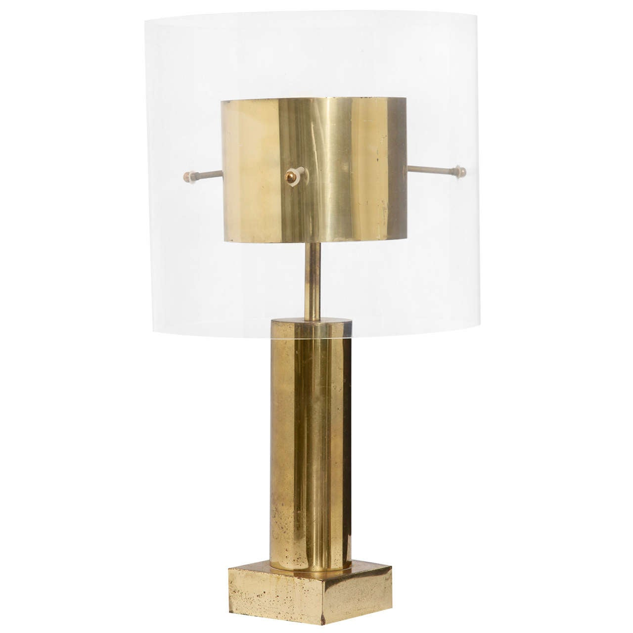 Brass and Lucite Table Lamp, France, 1970s