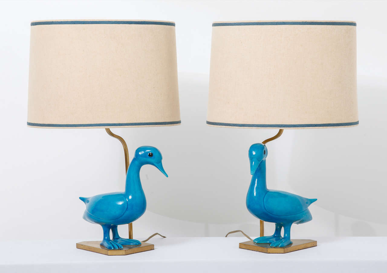 Set of blue ceramique duck table lamps at 1stdibs for Table ceramique