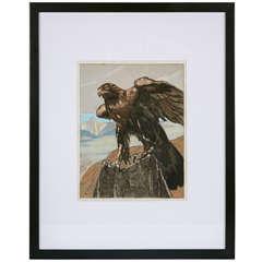 Art Deco Watercolor 'Aigle Royal dans les Montagnes' by Paul Jouve