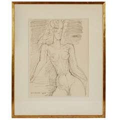 1956 'Femme nue à mi-corps' Drawing by Marcel Gromaire
