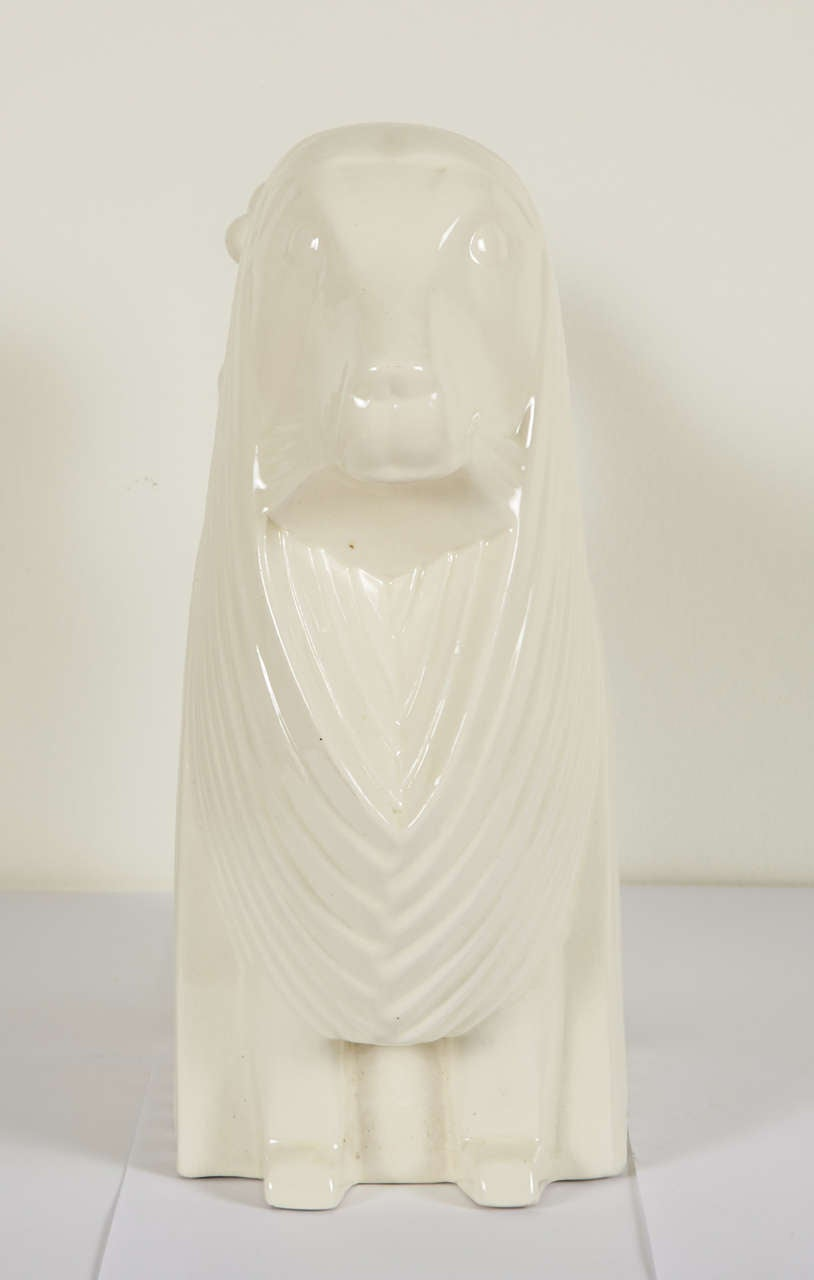 Ceramic Poodle by Adnet, circa 1930 In Excellent Condition For Sale In Paris, FR