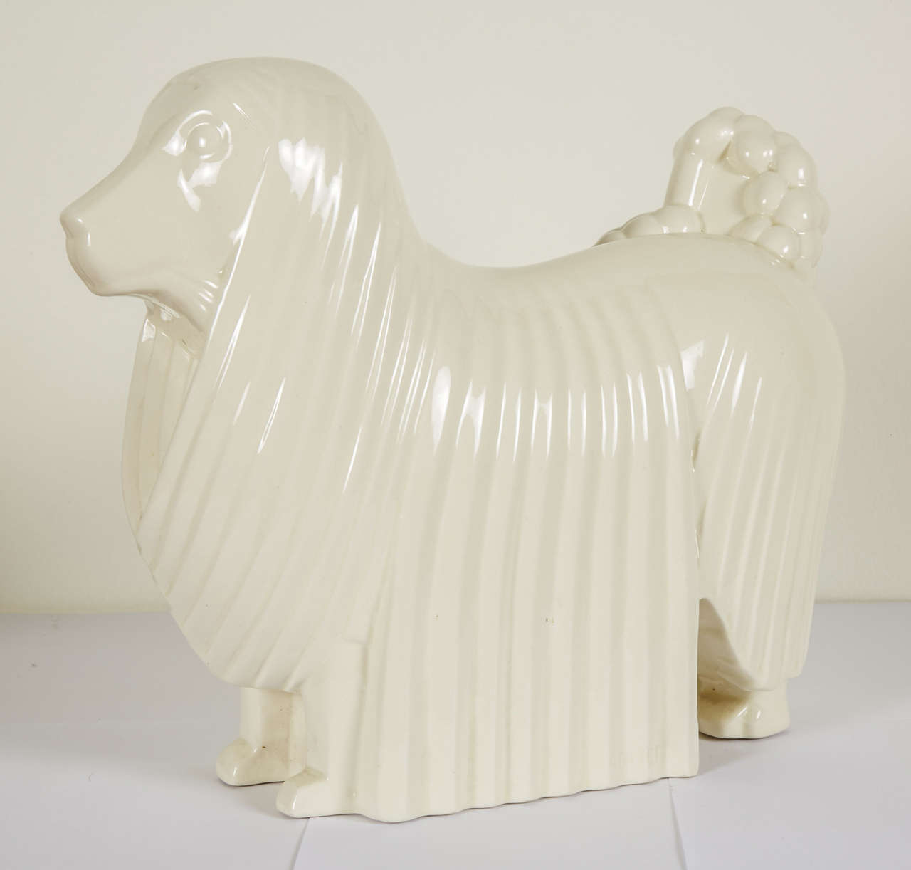 Mid-20th Century Ceramic Poodle by Adnet, circa 1930 For Sale