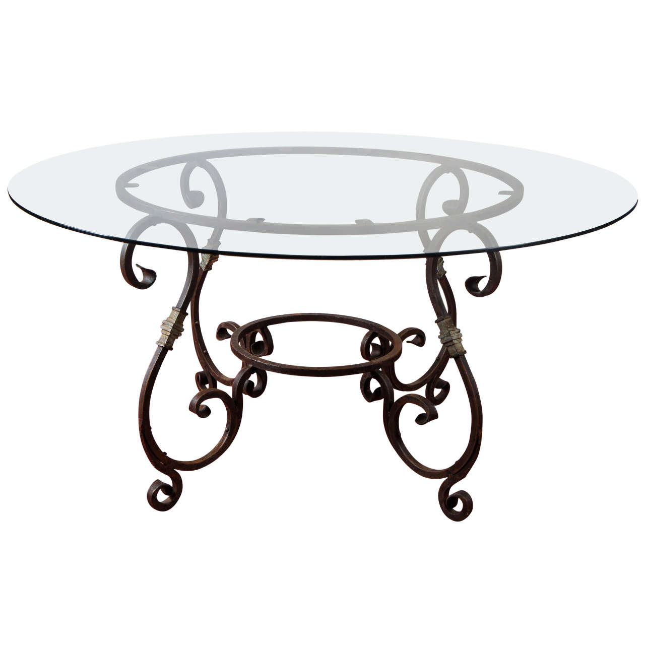 Round French Metal Base Dining Table at 1stdibs