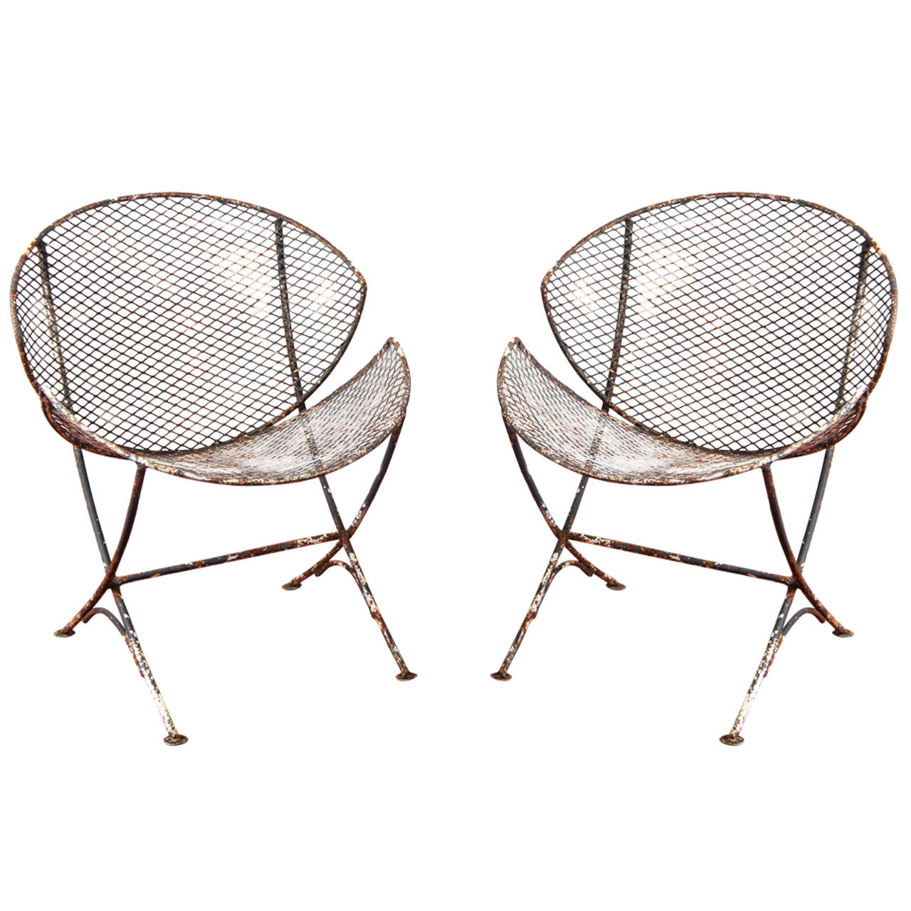 Pair of mesh metal saucer outdoor chairs at 1stdibs for Mesh patio chairs