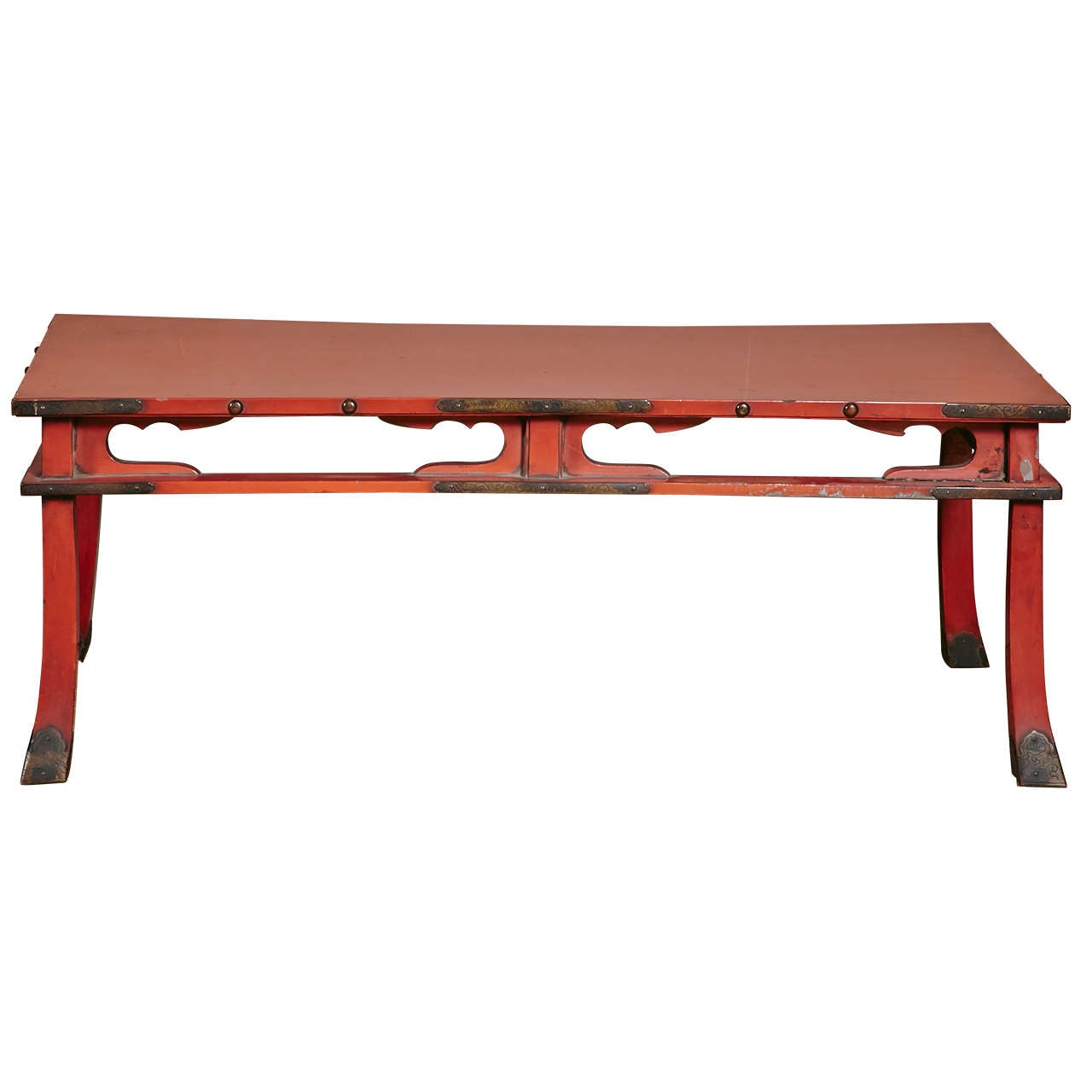 Japanese Negoro Lacquer Buddhist Offering Low Table With