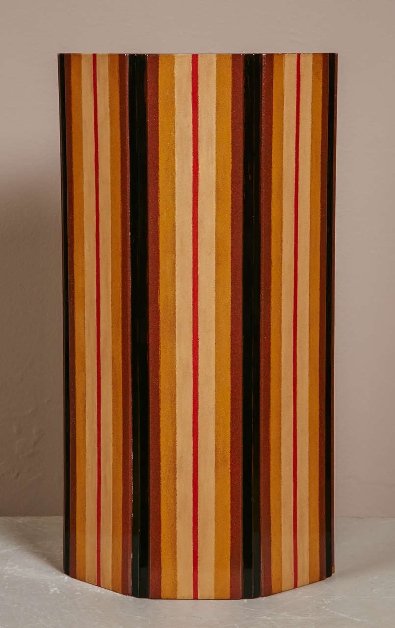 Japanese  Lacquer Vase With Stripe Design 2