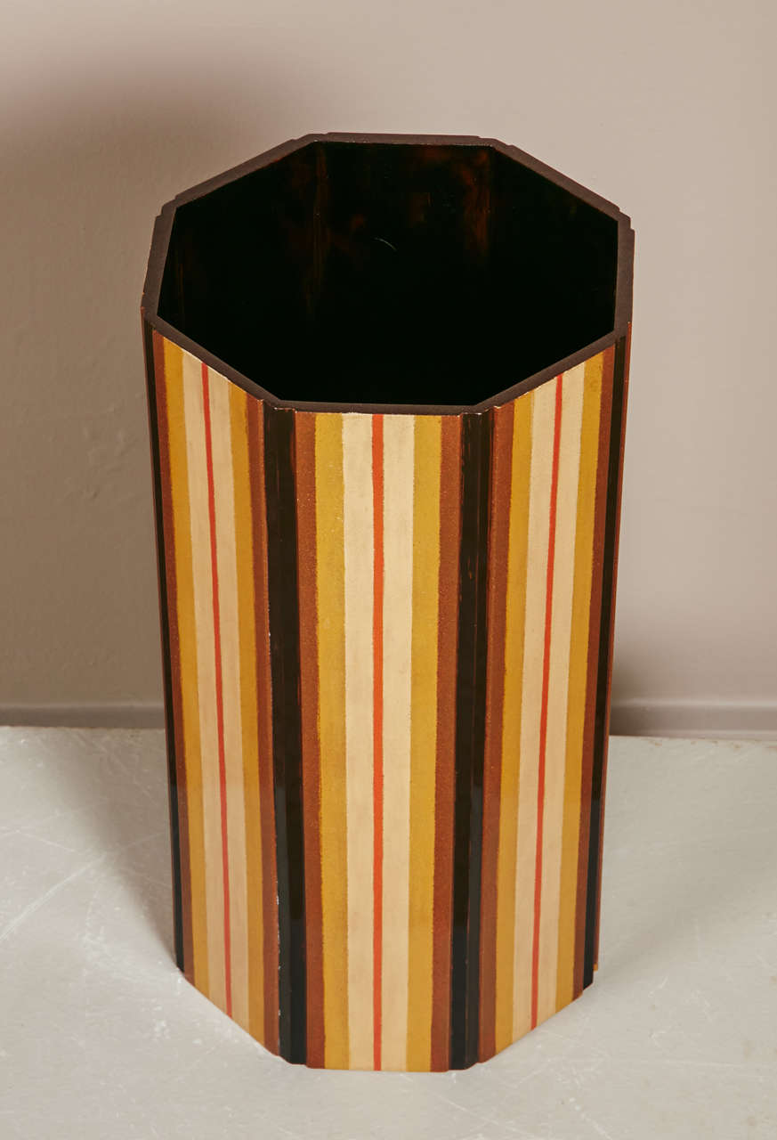 Japanese  Lacquer Vase With Stripe Design 3