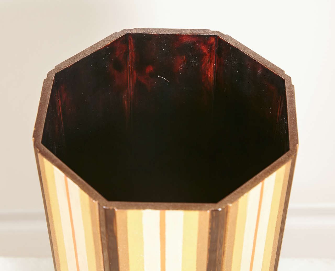 Japanese  Lacquer Vase With Stripe Design 4