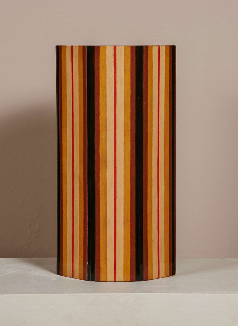 Japanese  Lacquer Vase With Stripe Design 6