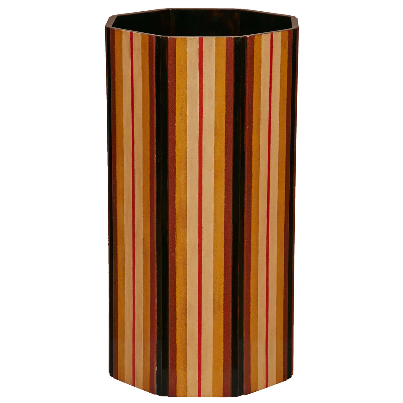Japanese  Lacquer Vase With Stripe Design 1