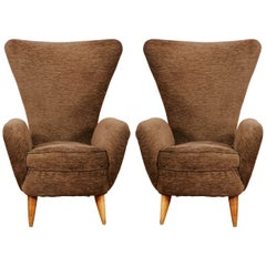 Pair of high armchairs, Italy, 1950's