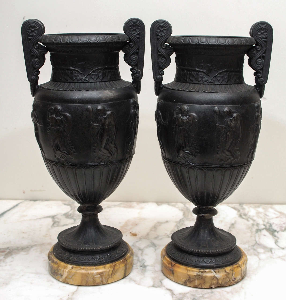 French 19th c. Patinated Bronze Classical Grand Tour Vases on Sienna Marble Bases