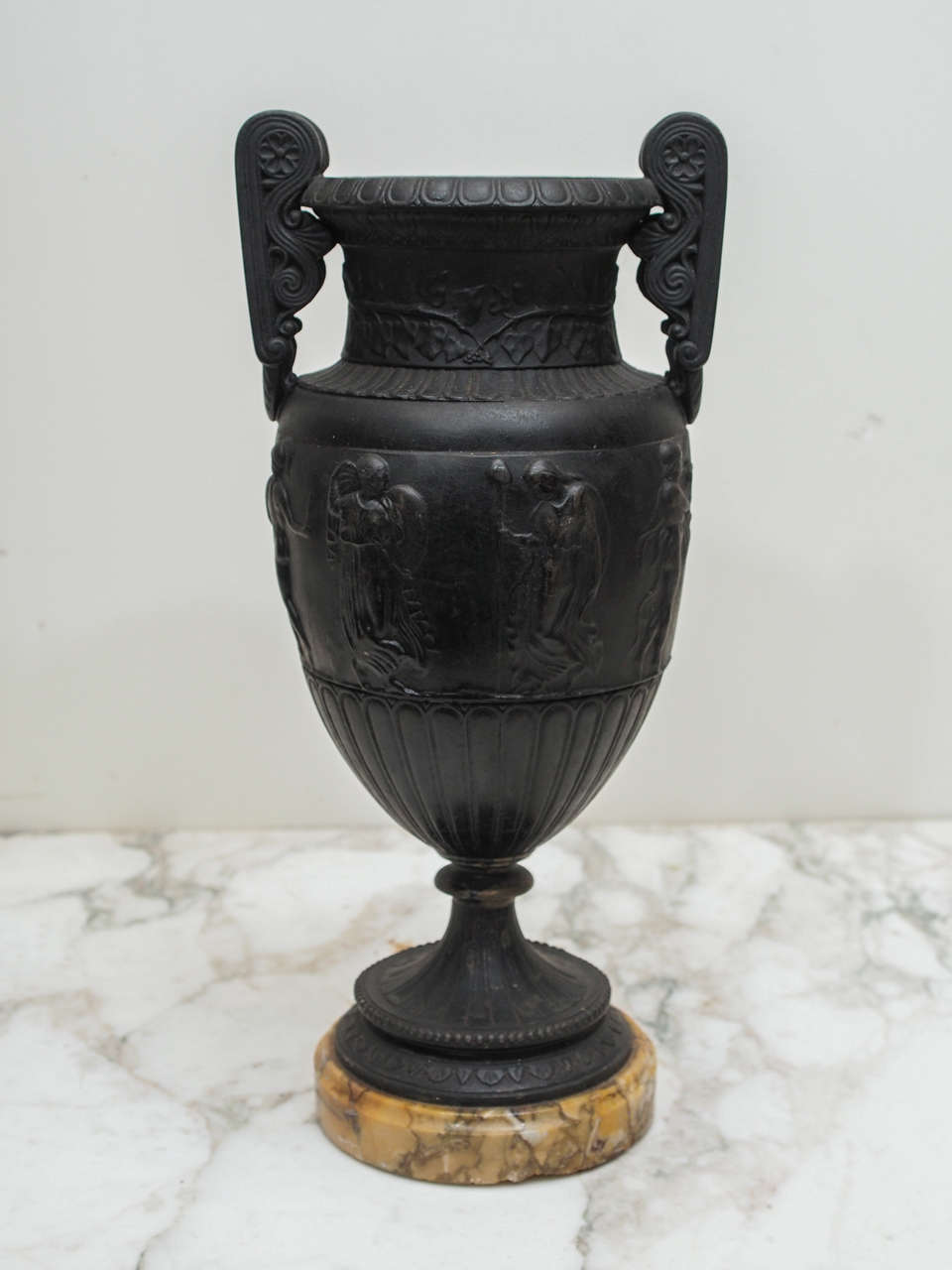 French Bronze Grand Tour Vases on Sienna Bases For Sale