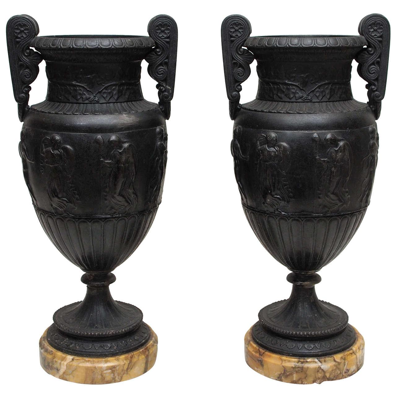 Bronze Grand Tour Vases on Sienna Bases For Sale