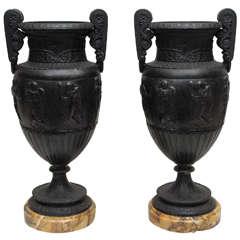 Bronze Grand Tour Vases on Sienna Bases