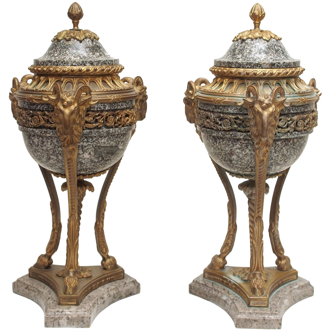 Pair of French Marble and Gilt Bronze Cassolet For Sale