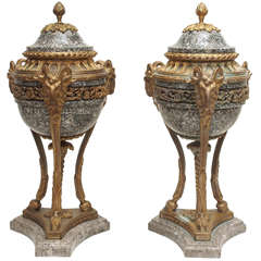 Pair of French Marble and Gilt Bronze Cassolet