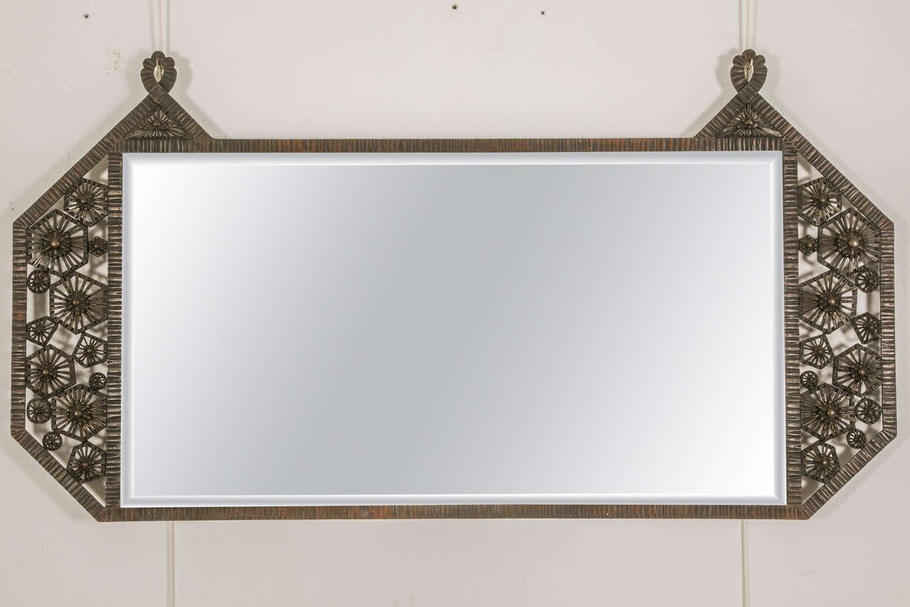 Art deco wrought iron wall mirror circa 1930 at 1stdibs for Wrought iron mirror