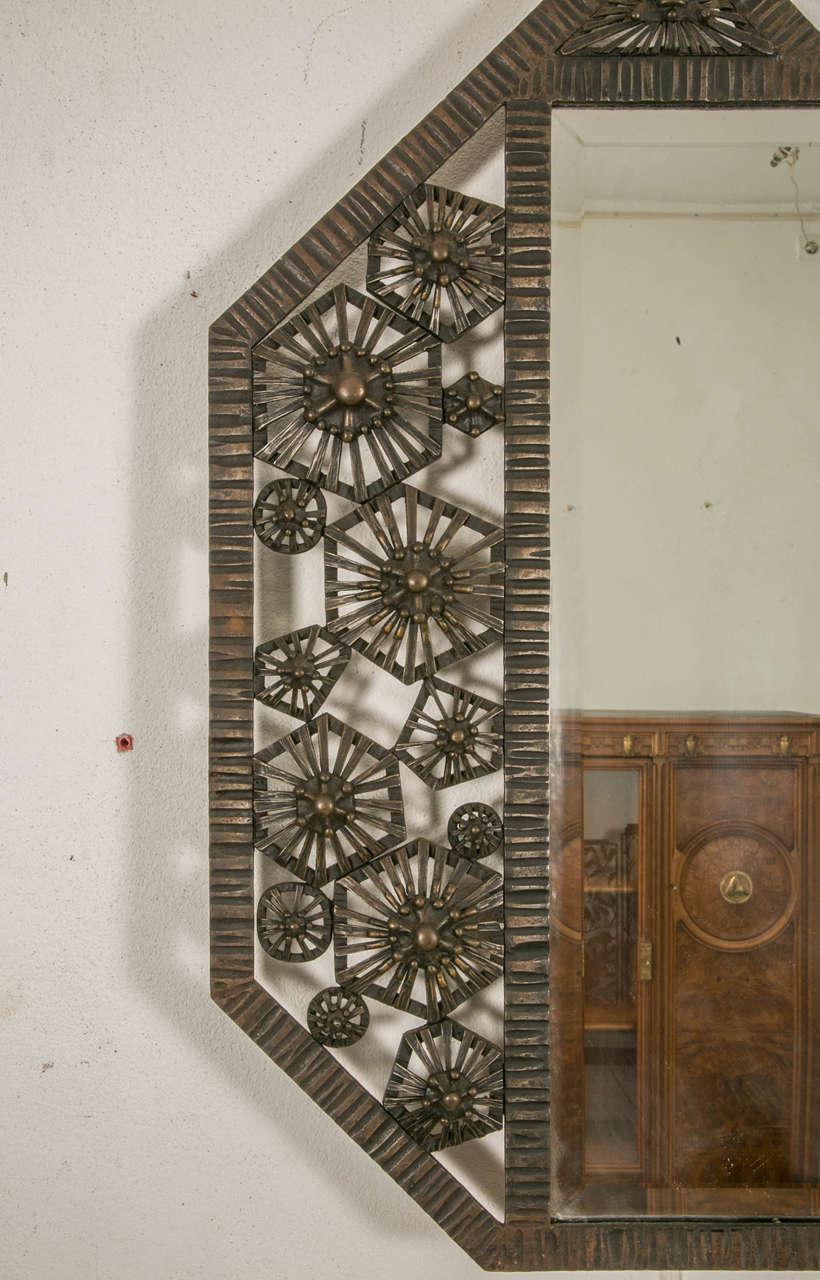Art Deco Wrought Iron Wall Mirror, circa 1930 at 1stdibs