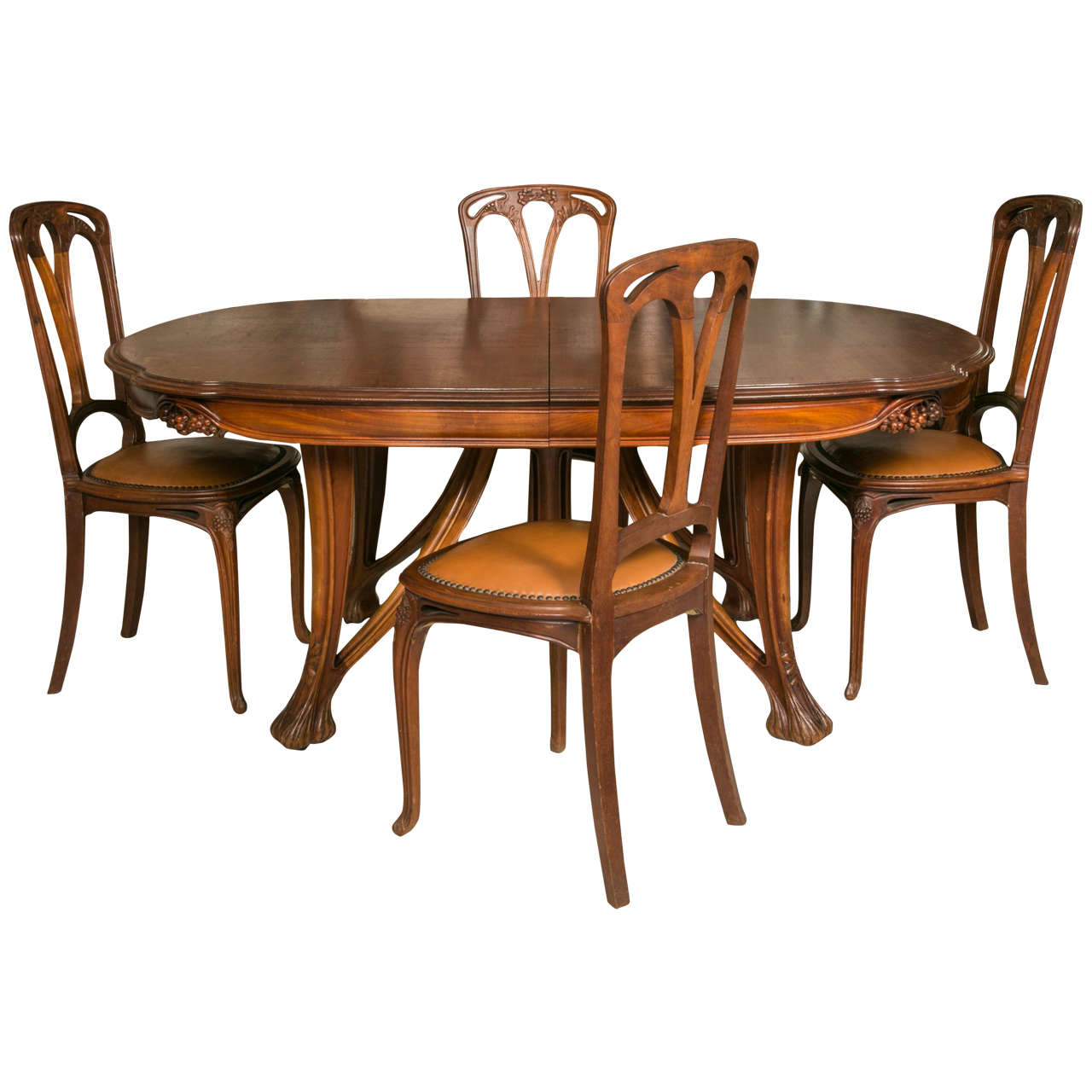 Art nouveau mahogany table and 12 chairs decorated with for Furniture dining table