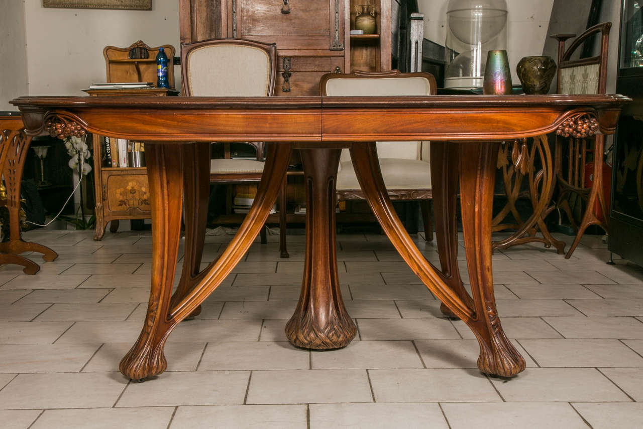 Art Nouveau Mahogany Dining Table And 12 Chairs By Paul A. Dumas 3