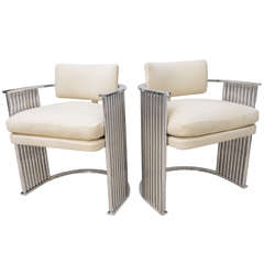 Pair of Art Deco Style Tubular/Upholstered Chairs