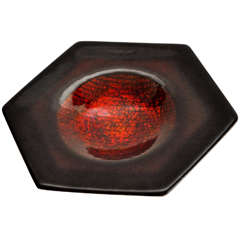 Red Enameled Copper Dish by Studio Del Campo