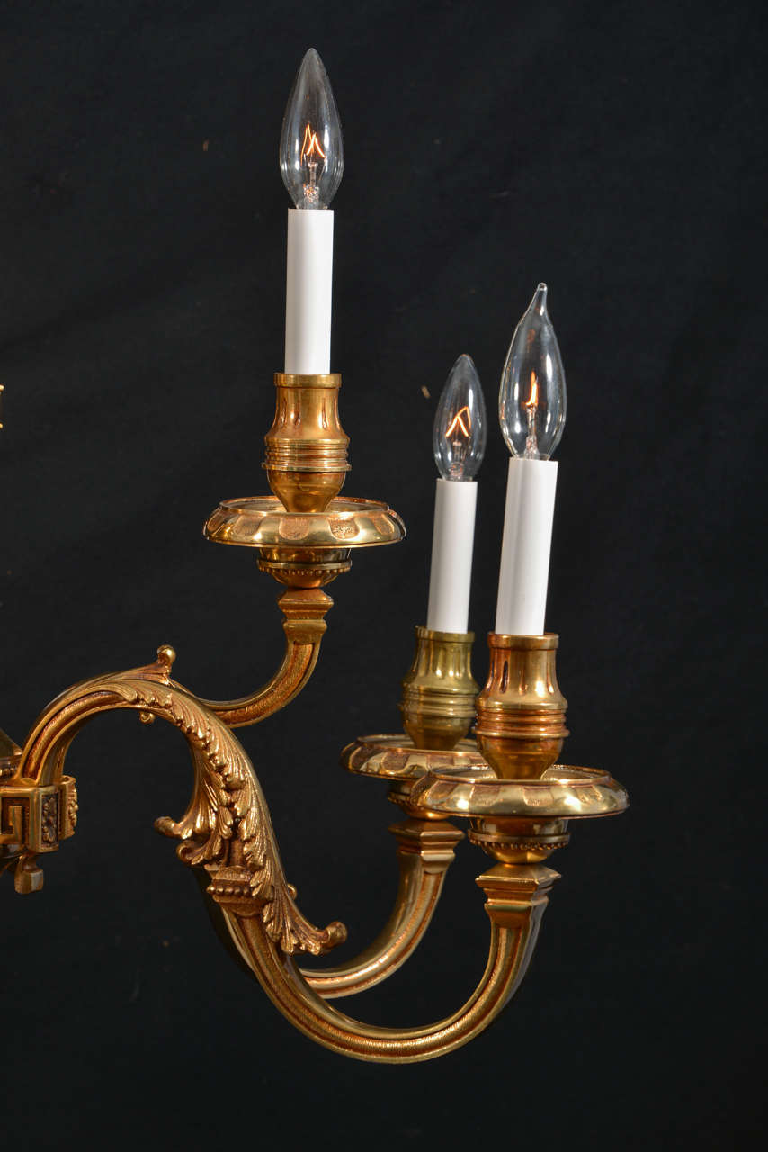 Georgian Chandelier: Nine Light, Simple Georgian Cast Brass Chandelier For Sale