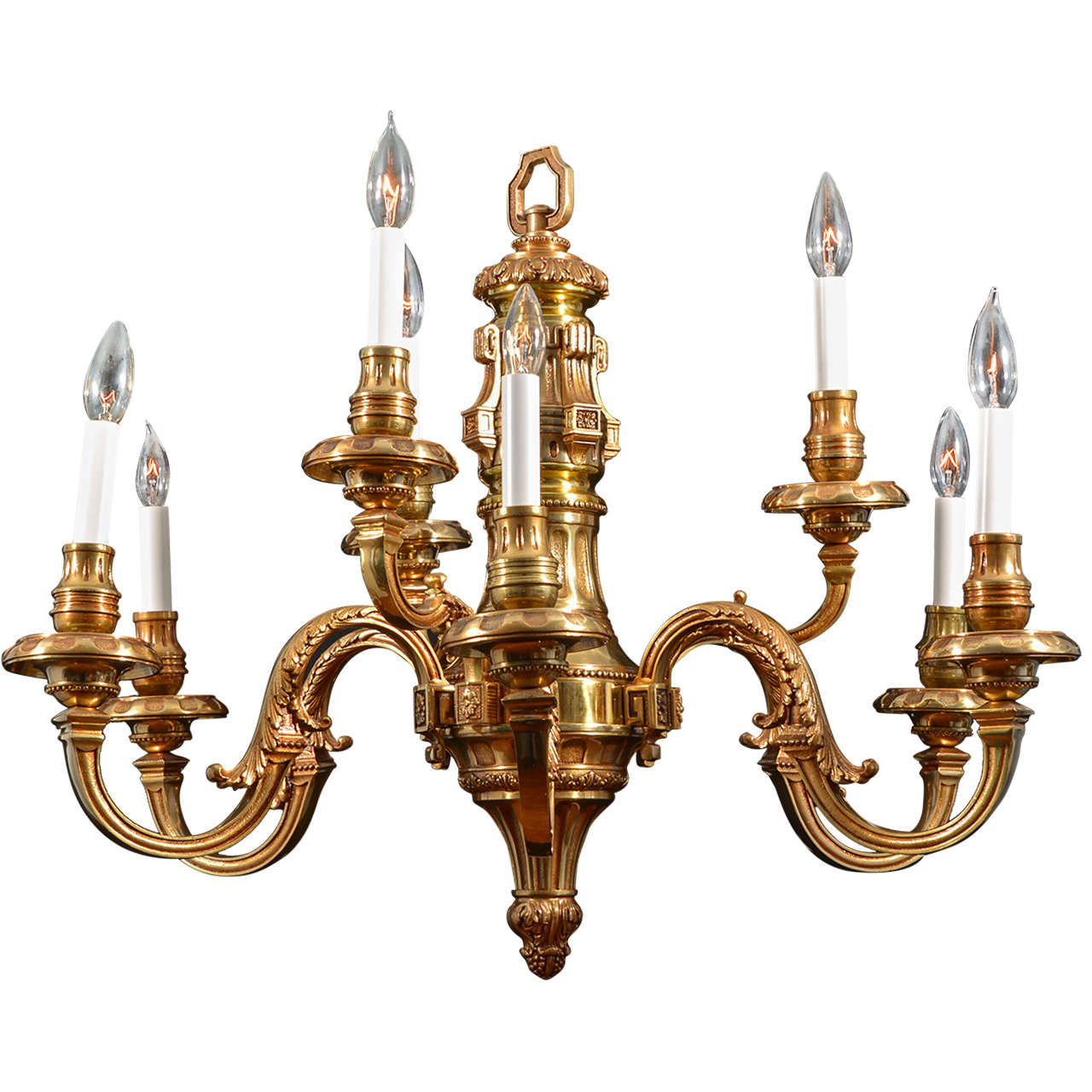 Nine Light Simple Georgian Cast Brass Chandelier For Sale