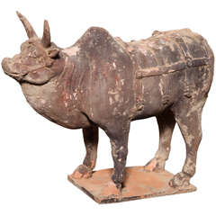 Tang Dynasty Painted Terracotta Animal Figure from China, circa 618-907 A.D