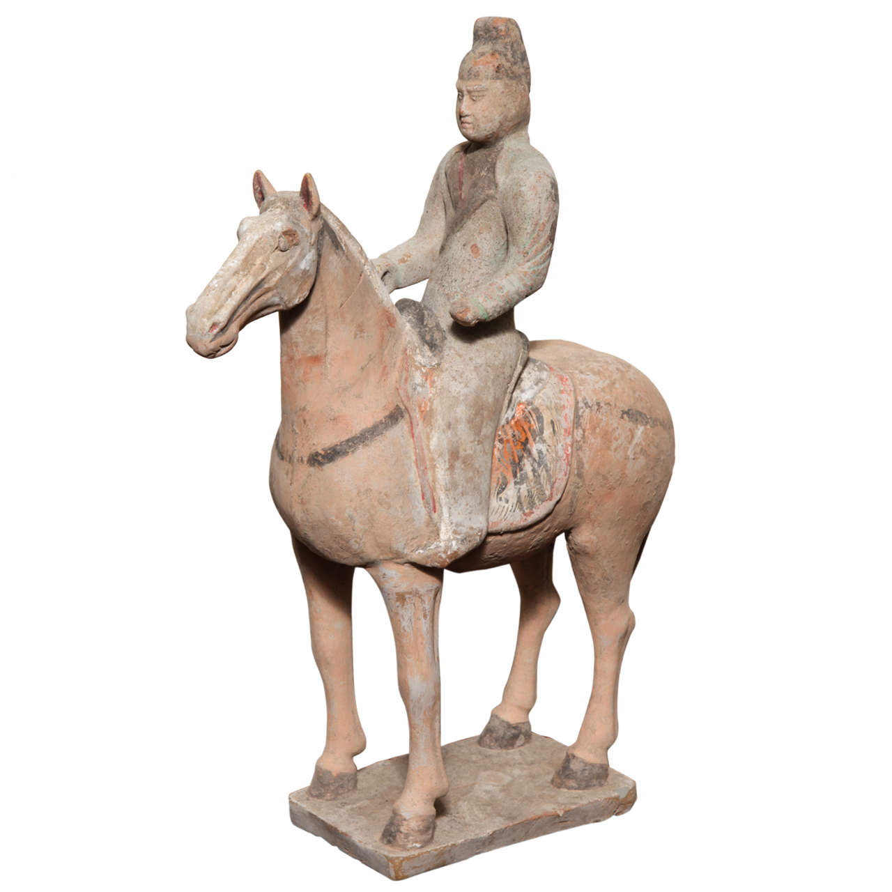 7th 10th Century Tang Dynasty Terracotta Statuette Of A Horse With Rider For