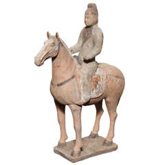 7th-10th Century Tang Dynasty Terracotta Statuette of a Horse with Rider