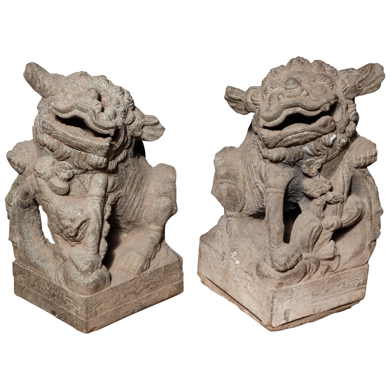 Chinese Pair of Stone Guardian Foo Dogs/Guardian Lions from 18th Century
