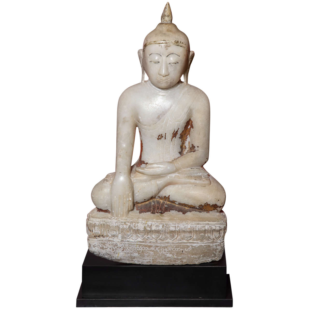 17th or 18th Century Burmese Shan Style Alabaster Sculpture of a Seated Buddha