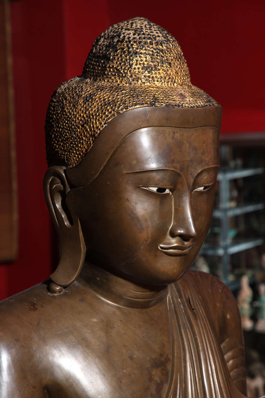 Burmese Bronze, Ivory and Gold Leaf 19th Century Shakyamuni Buddha Sculpture 3