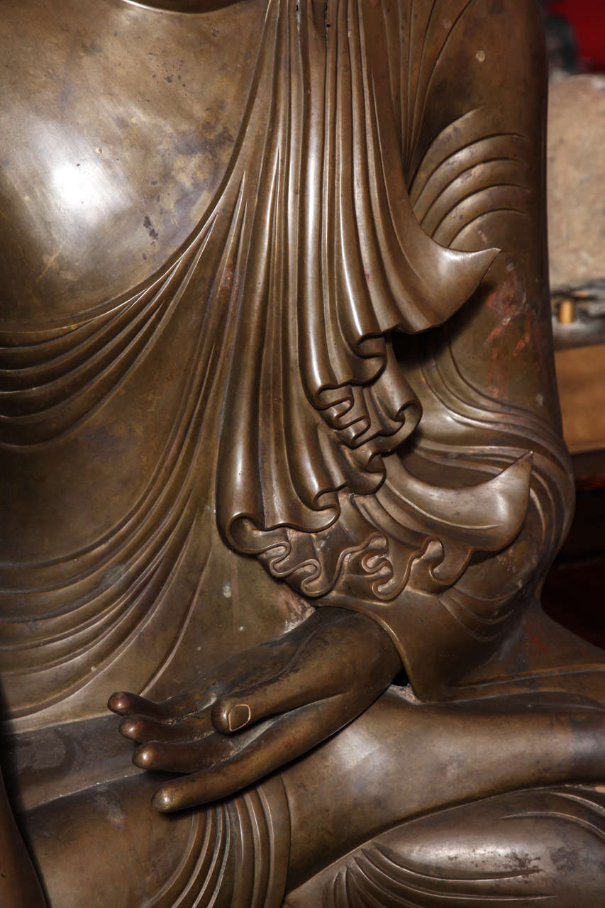 Burmese Bronze, Ivory and Gold Leaf 19th Century Shakyamuni Buddha Sculpture 5