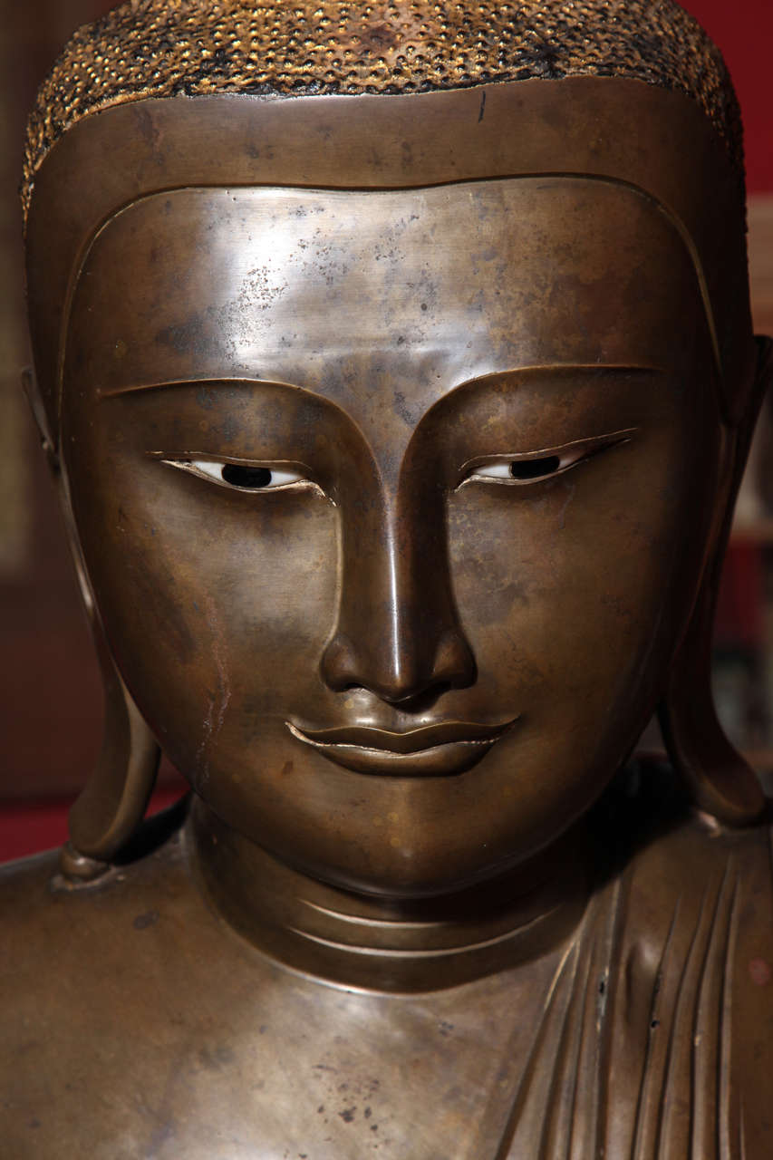 Burmese Bronze, Ivory and Gold Leaf 19th Century Shakyamuni Buddha Sculpture 7