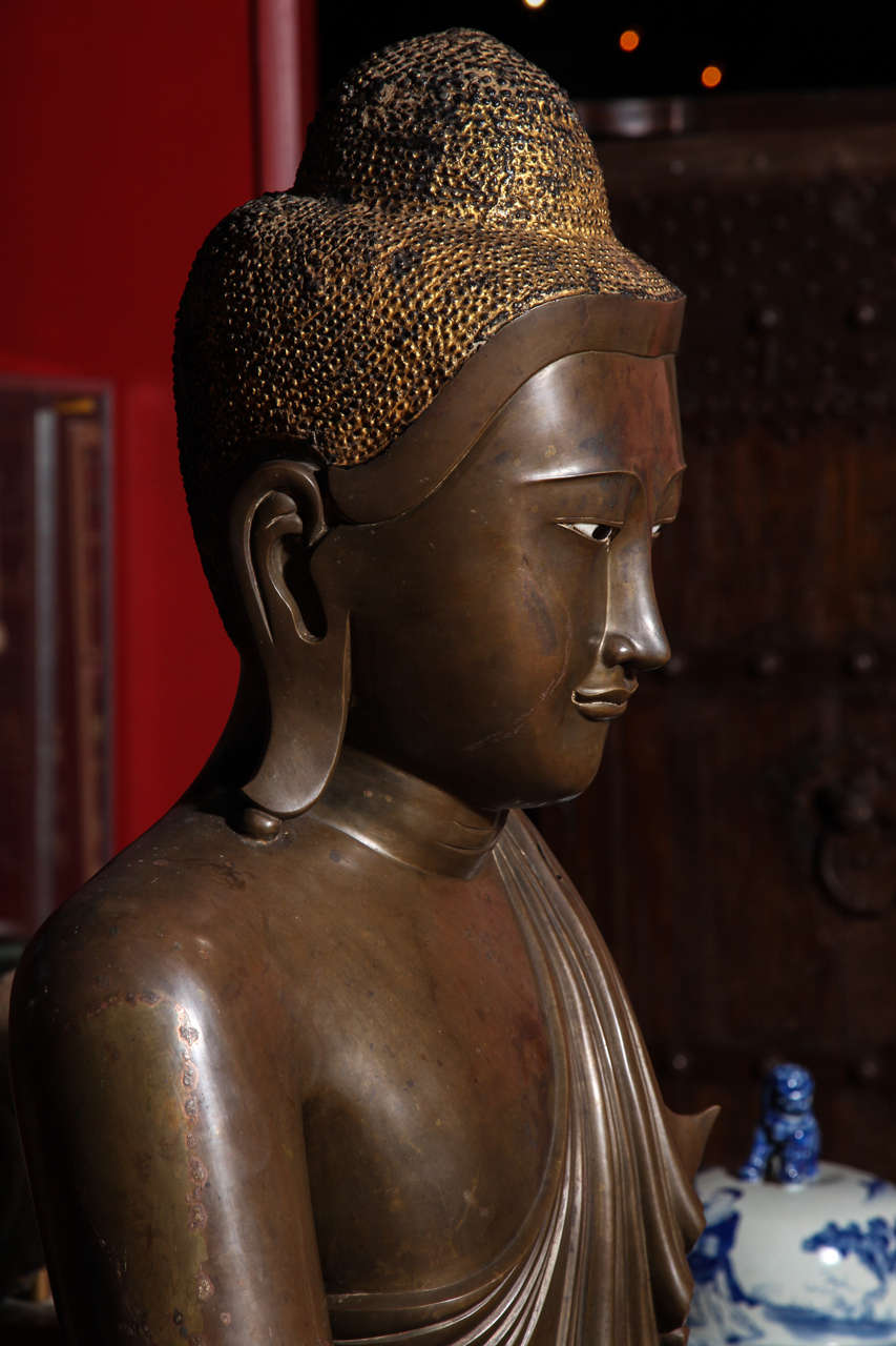 Burmese Bronze, Ivory and Gold Leaf 19th Century Shakyamuni Buddha Sculpture 8