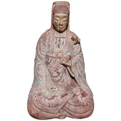 15th or 16th Century Painted Marble Chinese Statuette of the Goddess Quan Yin